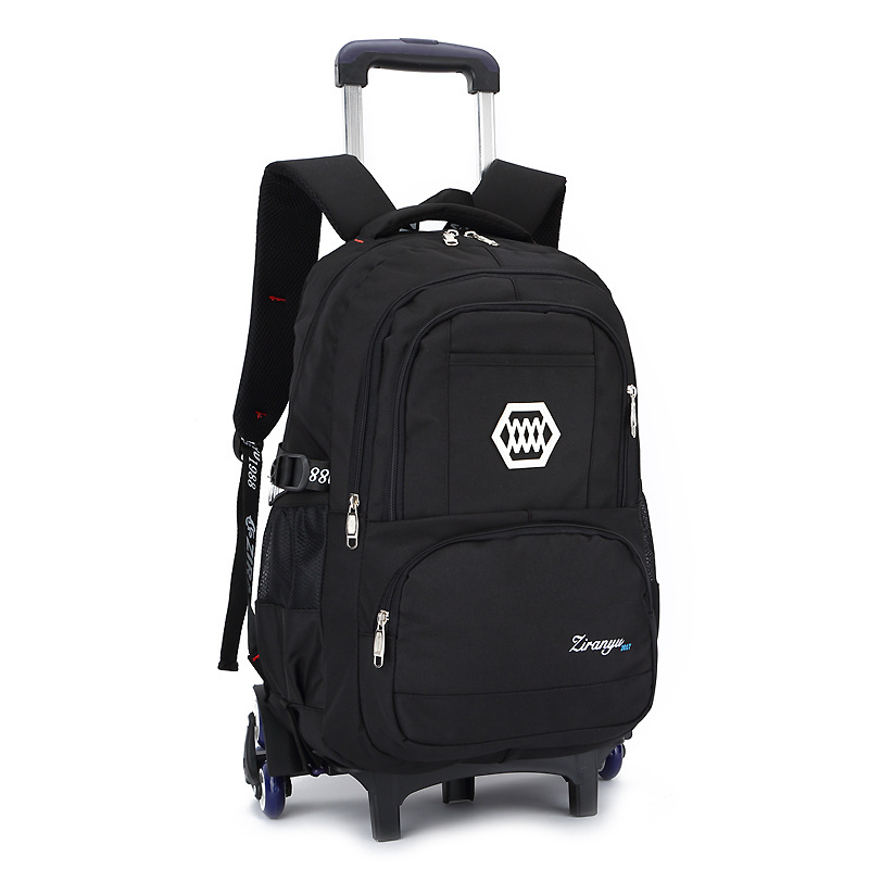 Casual Trolley Backpack Wheels School Books Children Kids Bag Shoulder Backpack with Detachable for Boys grade