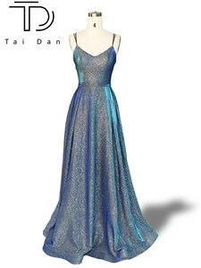 Роскошное платье для выпускного вечера, а-силуэта, с глубоким v-образным вырезом, без рукавов, Формальное, вечернее, выпускное, длинное, блест...