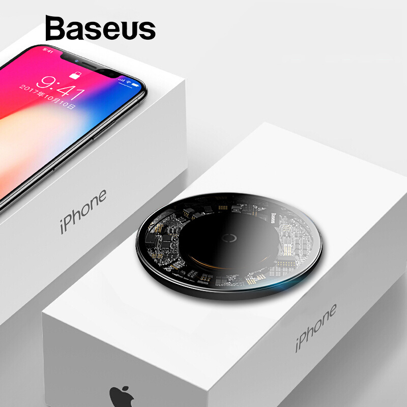 Baseus 10W Qi Wireless Charger for iPhone XR X XS Max 8 Plus Visible Element Wireless Charging Pad for Samsung S10 Xiaomi mi 9Baseus 10W Qi Wireless Charger for iPhone XR X XS Max 8 Plus Visible Element Wireless Charging Pad for Samsung S10 Xiaomi mi 9