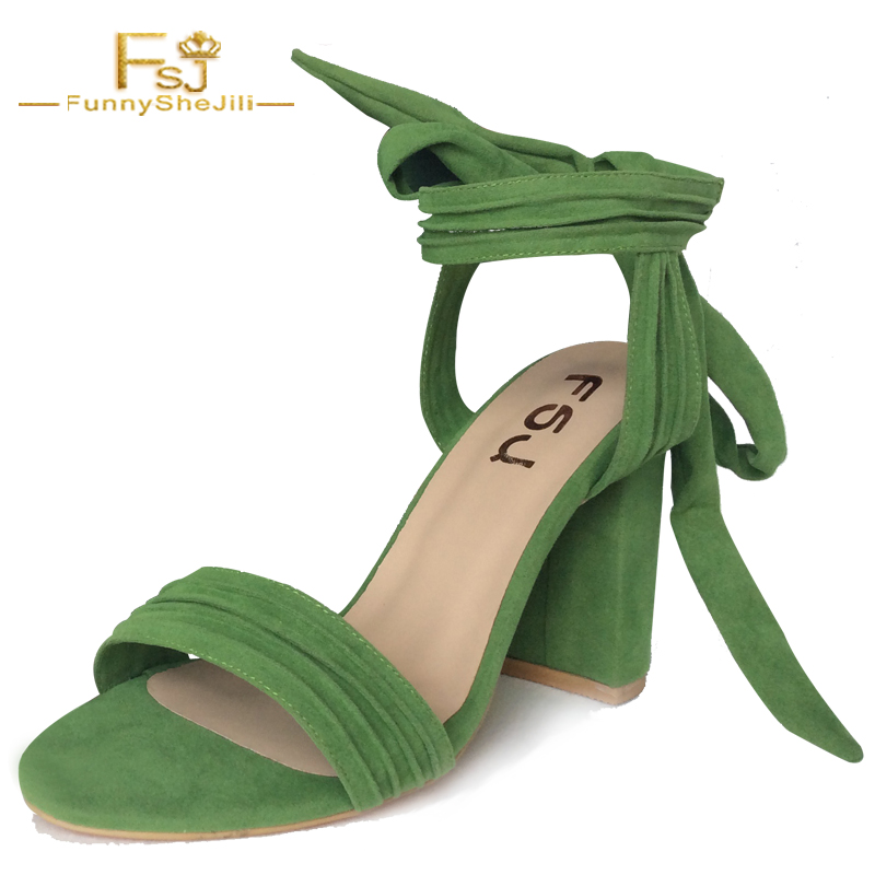 NEW Summer Green Ankle Strap Shoes High Quality Suede Womens Thick Heels Sandals Open Toe Party Evening Ladies Shoes FSJ 4-16
