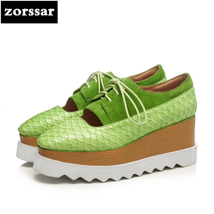 {Zorssar} 2018 Platform Wedges Shoes 8CM Woman's High Heels Fashion Square Toe Lace Up Platform Heels Casual Women Creepers europe america fashion star cutout lace up high heel shoes for women square toe platform wedges brogue oxford casual shoes us 10