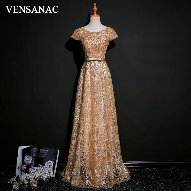 VENSANAC 2018 O Neck Sequined A Line Lace Long   Evening     Dresses   Party Short Sleeve Bow Sash Backless Prom Gowns