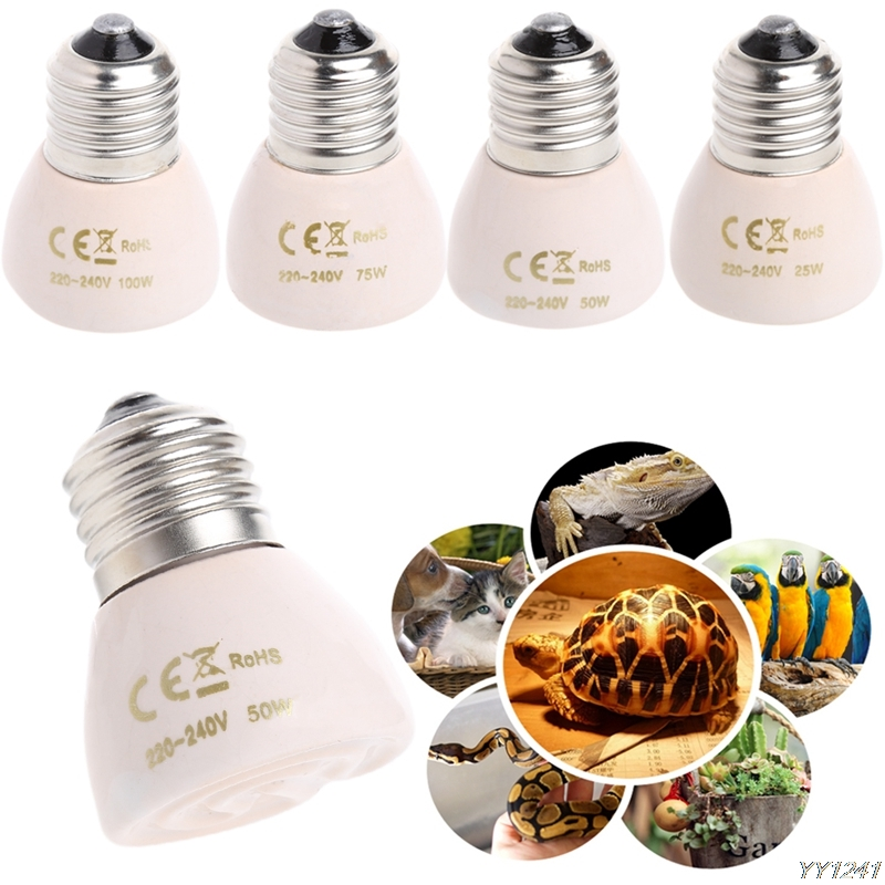 E27 25W 50W 75W 100W Mini Infrared Ceramic Emitter Heat Light Lamp Bulb For Reptile White 220 - 240V-W110