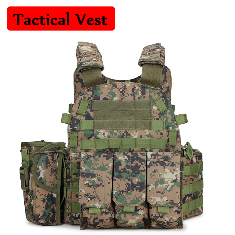 Outdoor Airsoft Paintball 6094 Tactical Vest Hunting CS Protection Body Armor Military Amry Combat Training Vest wosport military hunting vest enhanced tactical 500dnylon molle jpc shooting game body armor rig plate carrier airsoft paintball