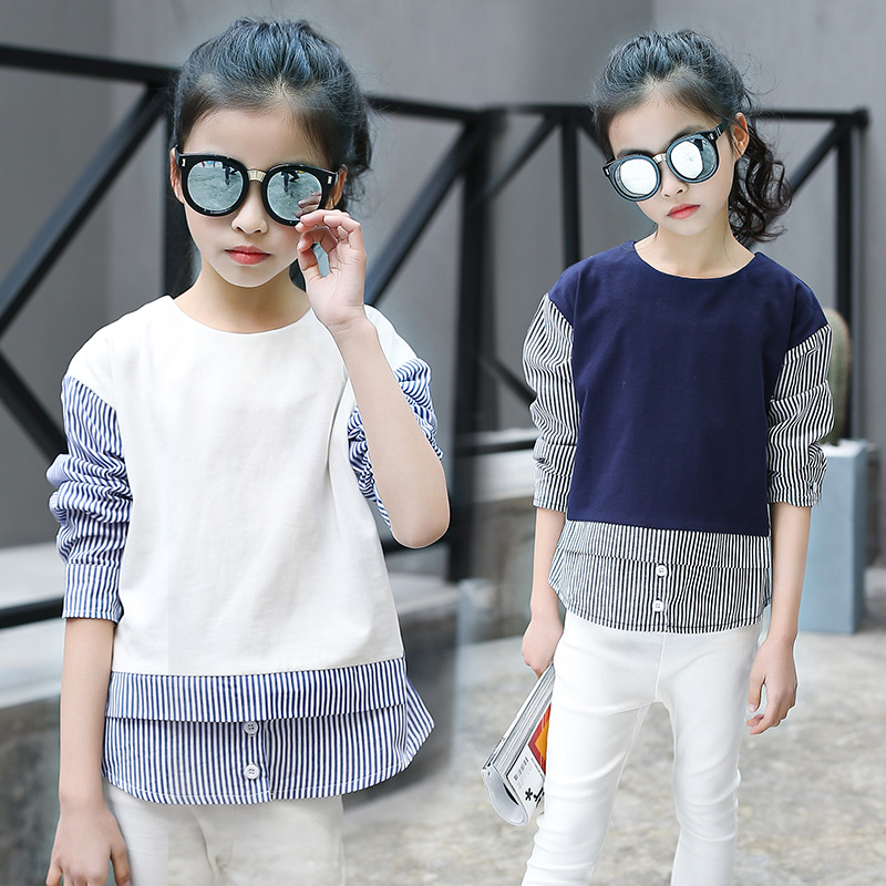 ФОТО The child of 2017 girls in the Korean version of the new spring fashion leisure Stripe Shirt fake two girls