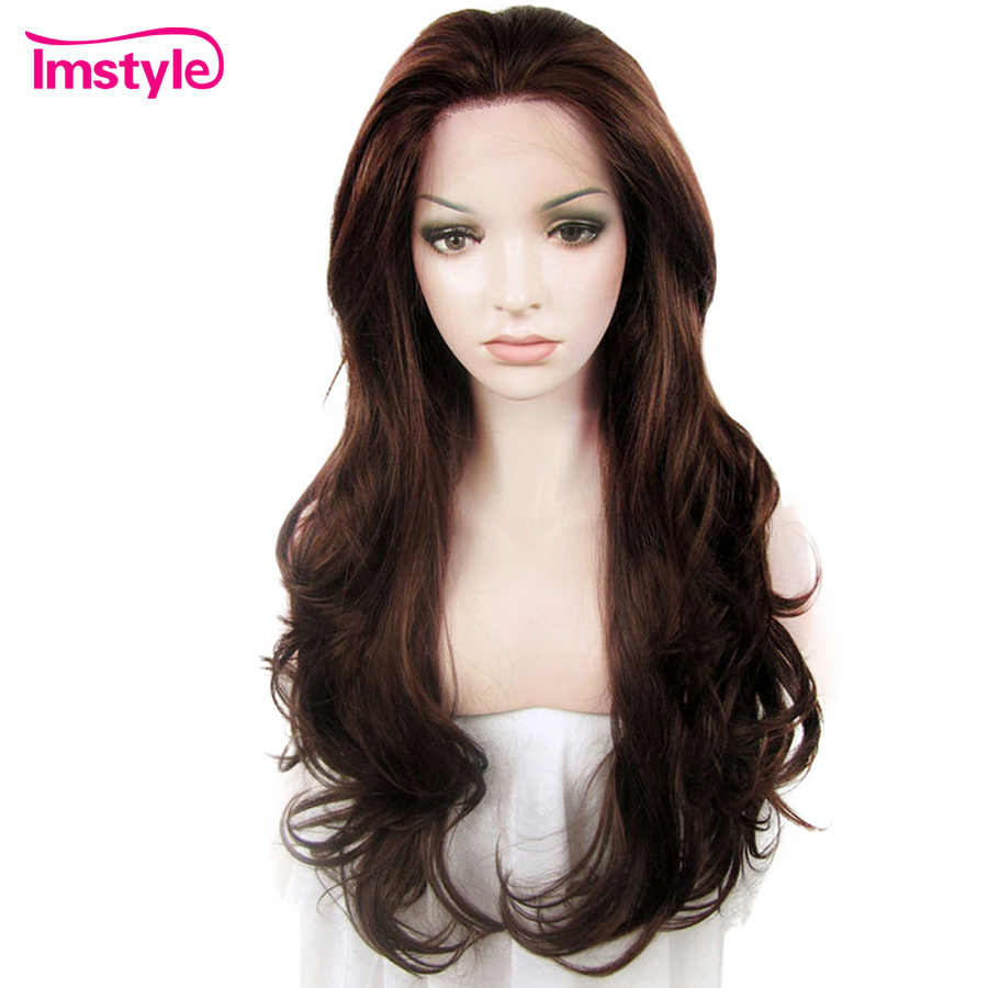 Imstyle Synthetic Lace Front Wigs Long Hair Wavy Dark Brown Wigs For Women Heat Resistant Fiber Glueless Lace Wig Cosplay 26""