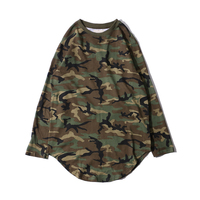 Spring and autumn new round collar camouflage Long Sleeve Tshirt oversize hip hop Swag Hem Pullover For Men Hip Hop Hipster Top