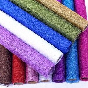 50cm * 5 metrów szpula Craft złoty drut Tissue Tulle Roll dekoracje weselne bukiet Wrap Organza Element z prześwitującej gazy prezent Decor 8