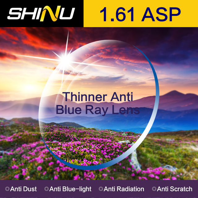 SHINU Customisable 1.61 Anti Fatigue Proof Blue Ray Aspheric Hard Resin Lens Myopia Glasses Custom SH1005