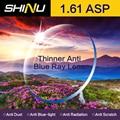SHINU Personalizable 1.61 Fatiga Prueba de Rayo Azul Lente de Resina Dura Asférica Miopía Gafas Personalizadas SH1005