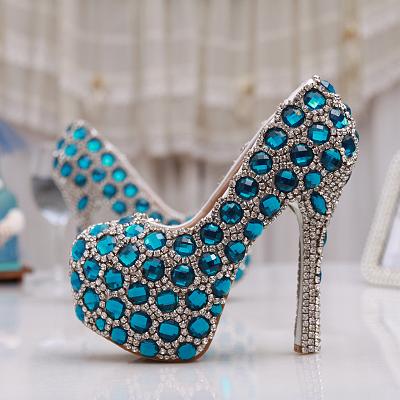 New arrival women's fashion blue rhinestone wedding shoes up heel platform shoes shallow mouth wedding pumps pig leather inner
