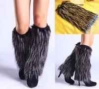 Retail Roma Women Winter Warm Leg Warmers Faux Fur 40cm Boots Shoes Cover Cuff Furry Soft