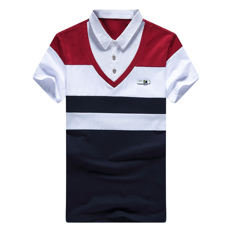2017 New Arrival Fashion Cotton Men Summer Polo Shirts Badge Slim Soft Short-sleeve Stripe Blue White Red Male Shirts Tops Making Things Convenient For Customers