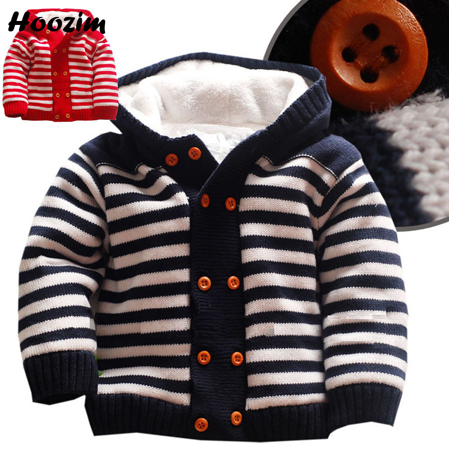 купить Baby Cardigan Casual Blue Girls Cardigan Winter Thick Warm Fleece Boys Sweater Fashion Autmn Plaid Hooded Knitted Sweater Kids по цене 1556.46 рублей