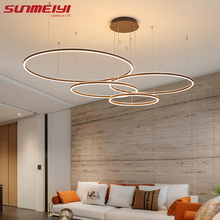 Nordic LED Pendant Lights Art Free combination Rings Cord Lamp For Living room Kitchen Cafe Bedroom Hanging
