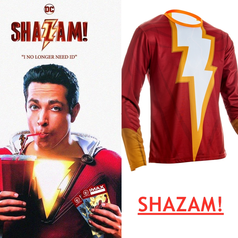 2019 New Movie Shazam 3D T shirts Men Compression Shirts Raglan Sleeve cosplay Costume