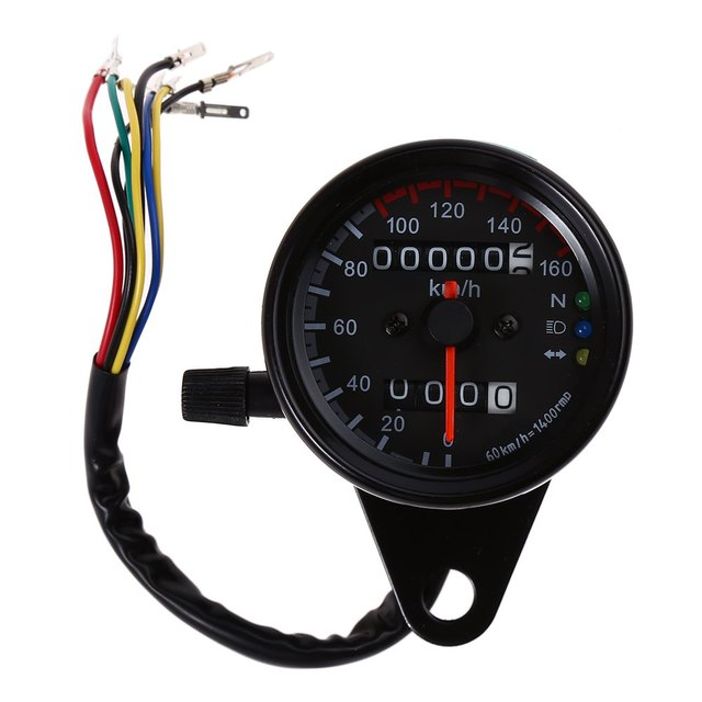 Universal Motorcycle Dual Odometer Speedometer Gauge Speed Meter Night Light LED Backlight Motorbike Modification Part B728