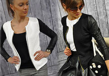 2015 Black White Colors Fashion New Slim Ladies Women Suit Coat Jacket Zipper womens winter jackets and coats