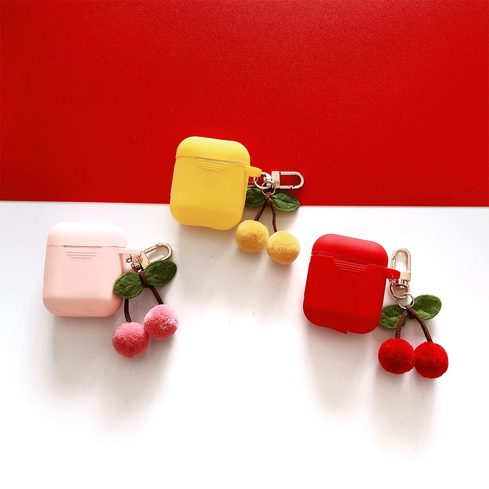 for Airpods Case Fashion Cherry Accessories with Key Ring Strap Silicone Cases Bluetooth Wireless Earphone Charging Box fundas,Red