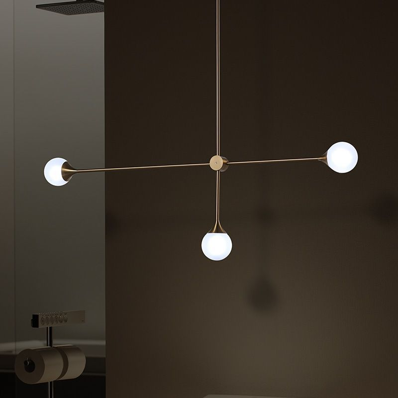 3 Bulbs Simple Line Pendant Light Nordic Copper Linear Drop Pendant Light Iron Hanging Lamp Glass Ball Lampshade for Dining Room