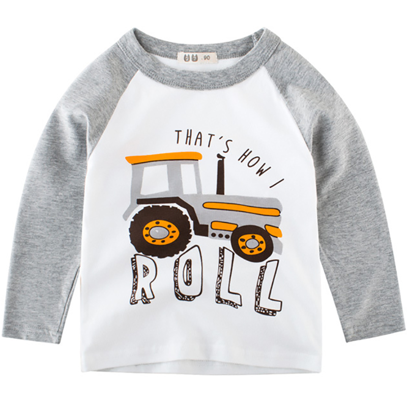 Boys T-Shirts Cute Fun Cartoon Tractor Girls Blouse Autumn Tops Kids Clothes Children Cotton Tshirt Toddler Long Sleeve T Shirts