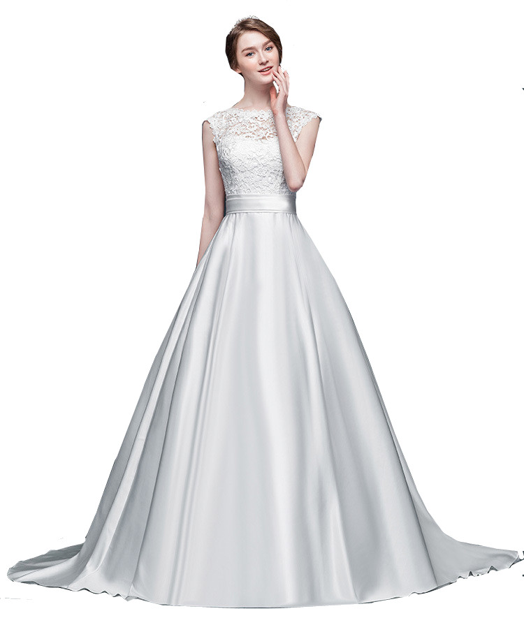 Wedding Gown Tops: A Line Satin Wedding Dresses Lace Top Cap Sleeves Women