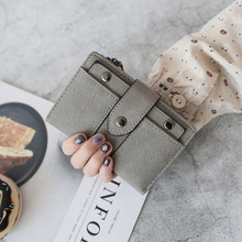 new ladies short wallet womens zipper 2 fold solid color buckle student purses  wallets and