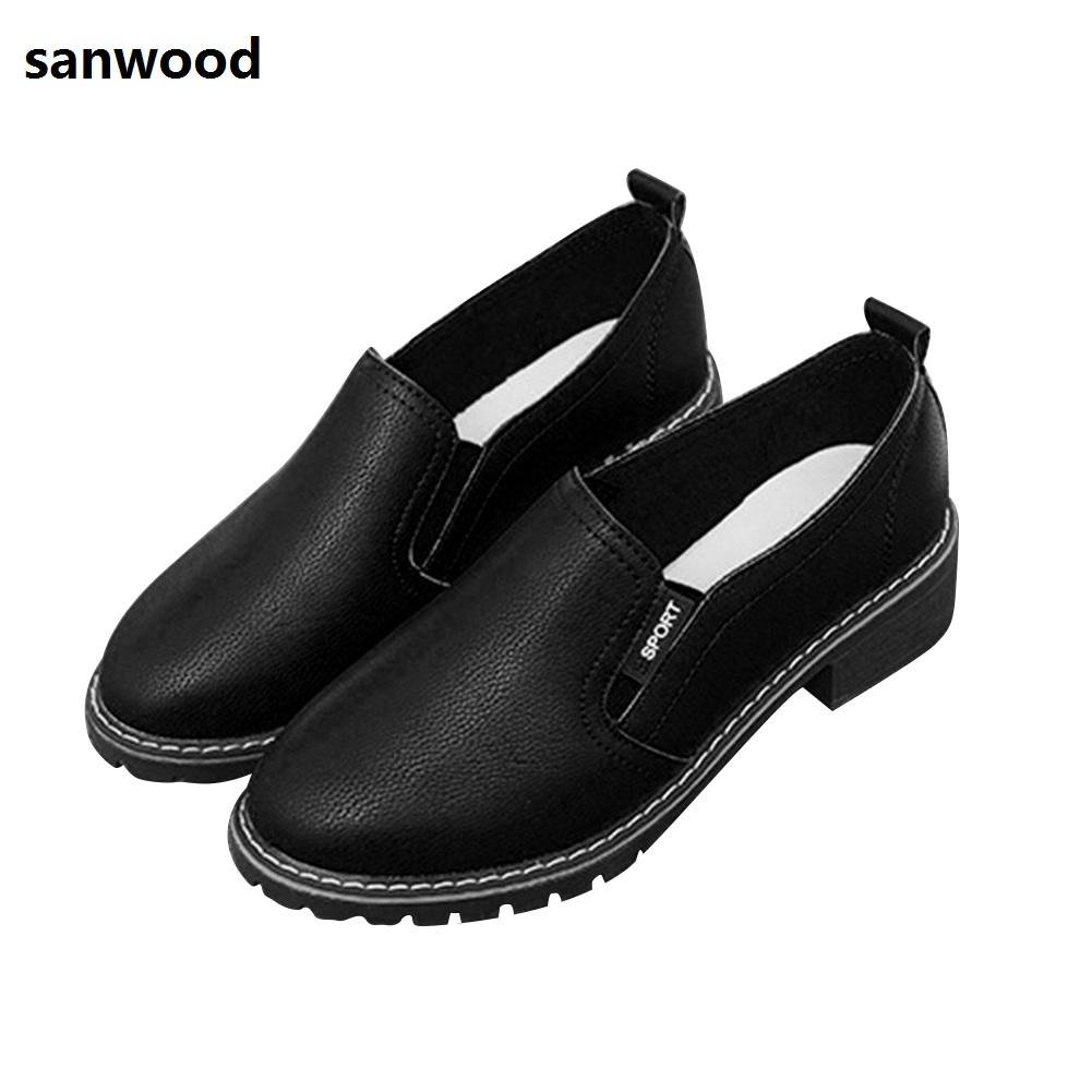Fashion Round Toe Faux Leather Flat Shoes Solid Color Slip-on Women Single ShoesFashion Round Toe Faux Leather Flat Shoes Solid Color Slip-on Women Single Shoes