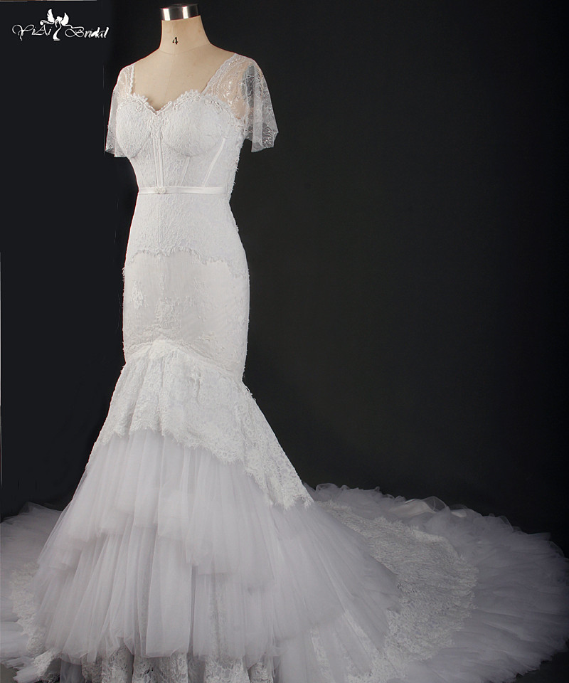 Image 3 - RSW769 Short Sleeve White Lace Cathedral Train Mermaid Wedding Dresses Real Photowedding dress real photoreal photowedding dress real -