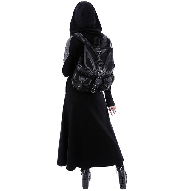 Casual Gothic Print Hoodie Women Hooded Sweatshirt Long Sleeve Plus Size Autumn Fashion Zipper Punk Long Tops Black Hoodies 2019 1