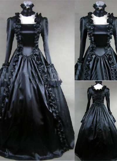 Black Gothic Victorian Dress Square Collar Stage Dresses Stage Ball Gown