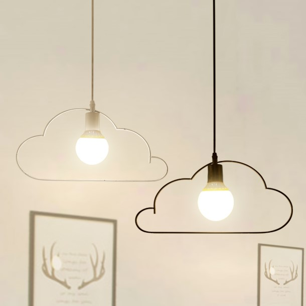 Cloud Pendant Lights creative personality modern simple bar restaurant study cafe art iron black white 1/2head Pendant lamps -ZA contemporary and contracted creative personality retro art glass chandelier cafe restaurant study lamps act the role of milan