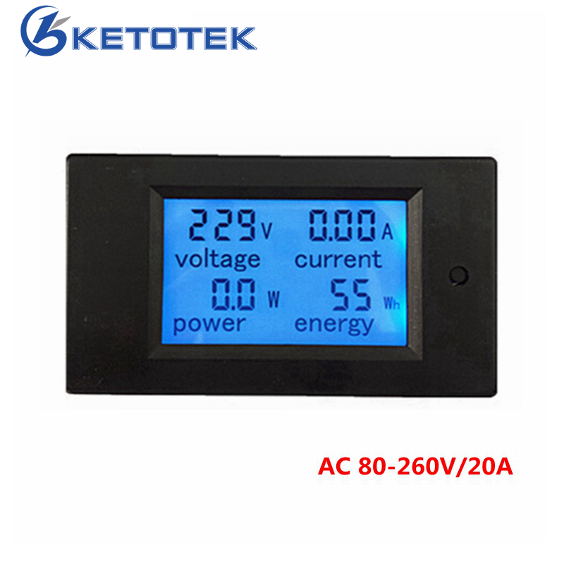 все цены на New 4 in 1 meter Voltage Current Power Energy meter Gauge AC 80-260V 20A voltmeter Ammeter Watt Power Meter Free Shipping онлайн