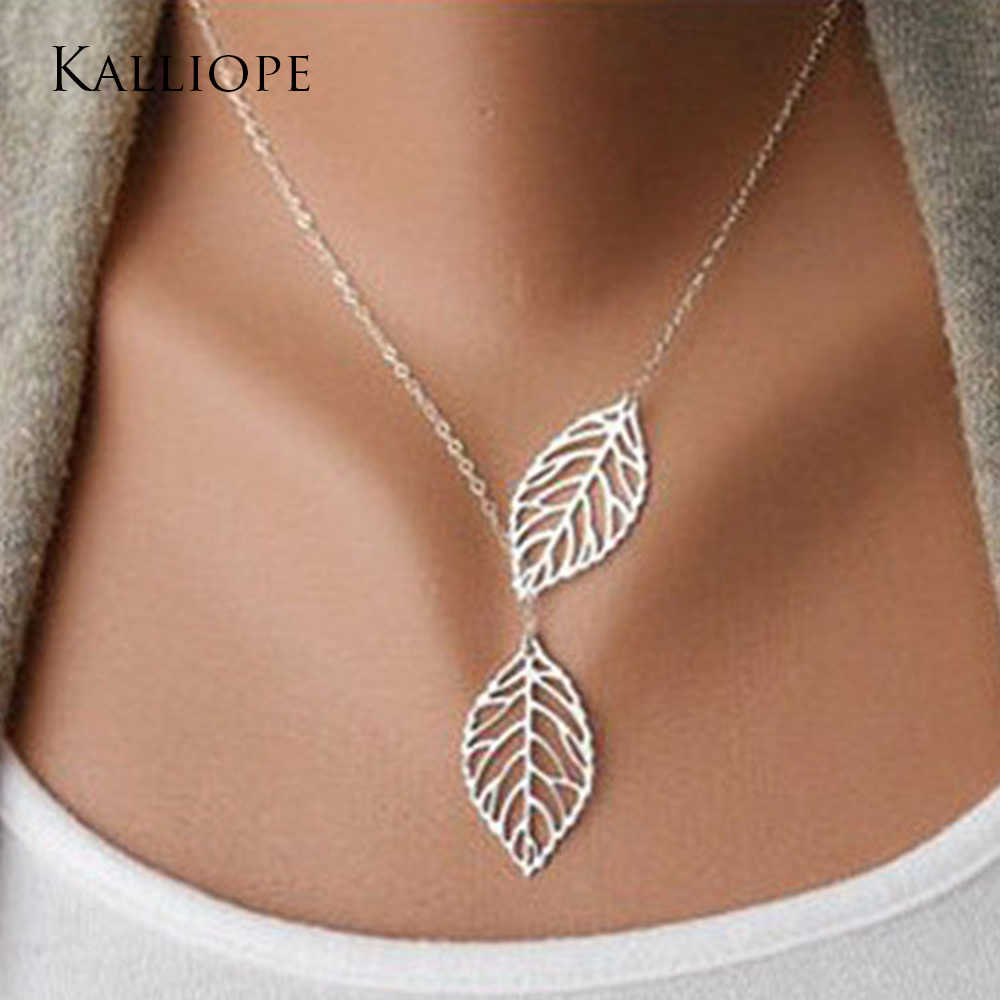 2019 new Fashion Trends Jewelery Mori Metal Leaves Double Leaves Wild Short Necklaces Chainbone Chain Women