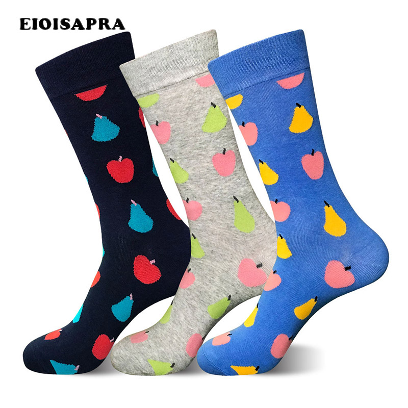 [EIOISAPRA]Fruit Printing Colorful Funny Socks Men Fashionable Divertidos Happy Socks Business Creative Big Size Calcetines Sox
