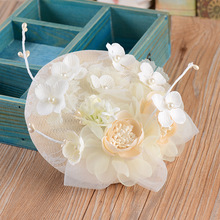 European Classic Handmade Silk Felt Flower Sinamay Base 14Cm Linen Fascinator Headwear Hair Clip Wedding Party