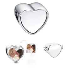 sublimation blank heart photo bead metal Slider big hole 5MM european charms hot transfer printing material  15pcs/lot