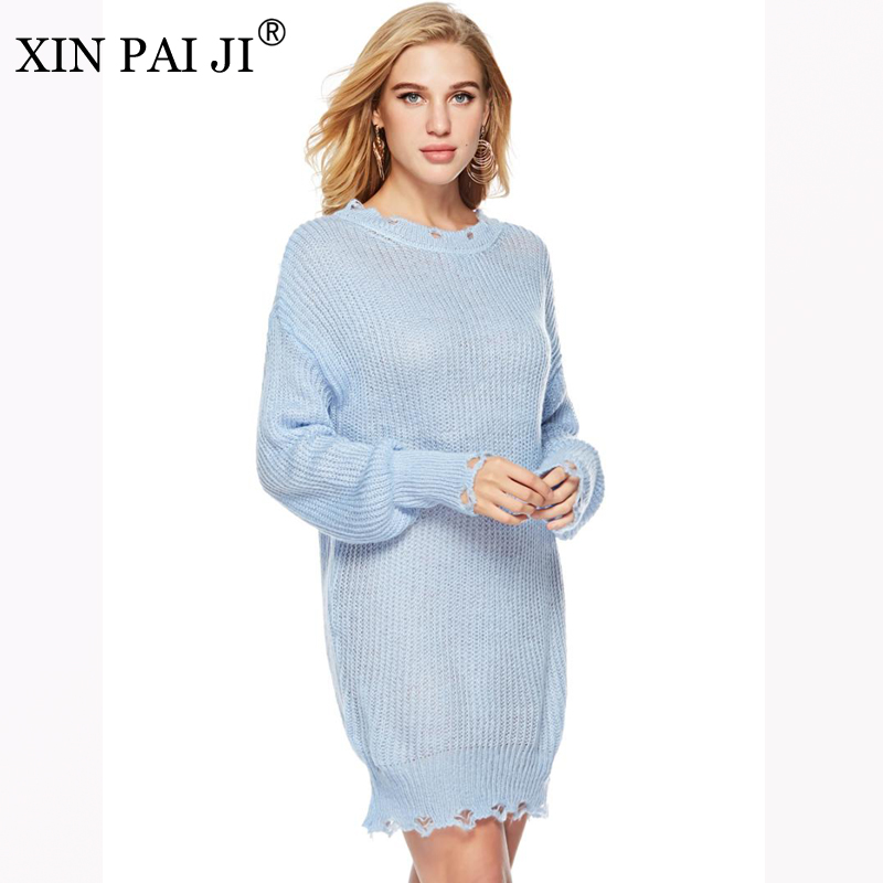 New 2018 Autumn Winter Women Knitted Sweater Dresses Pullovers Loose O-neck Female Dress Vestidos Feminino