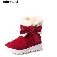 Damen Dickes Fell Winter Stiefel Chunky Boden 2 Arten Abnutzung Med Heels Schuhe Plattform Botas Rot Schwarz Zapatos Winter Plus Größe 40
