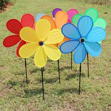 Single Layer Fabric Windmill Six-leaf Wind Spinners Sunflower Lawn Pinwheels Windmill Party Wedding Home Garden Decor Kid Toy(China)