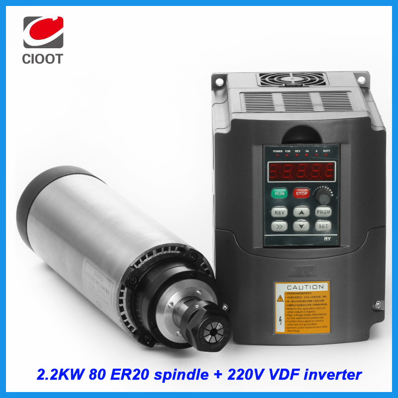 CNC Spindle 2.2KW Milling Machine Motor 80mm ER20 Air Cooled Spindle + 2.2KW 220V Inverter For Engraving Machine Tool  цены