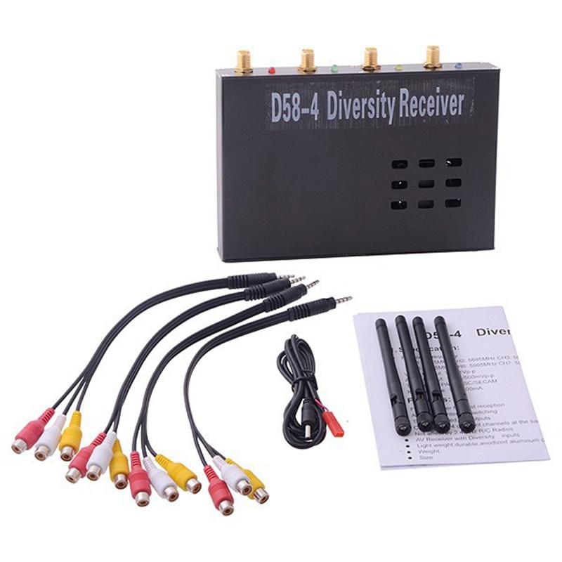 Récepteur de diversité D58-4 5.8G sans fil 4 canaux diversité AV Figure récepteur PAL/NTSC/SECAM pour Transmission en temps réel 1000 mW