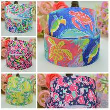 "DUWES 1.5"" 38mm Flowers Lilly Turtles Printed grosgrain ribbon hair bow DIY handmade wholesale Customization OEM 50YD(China)"