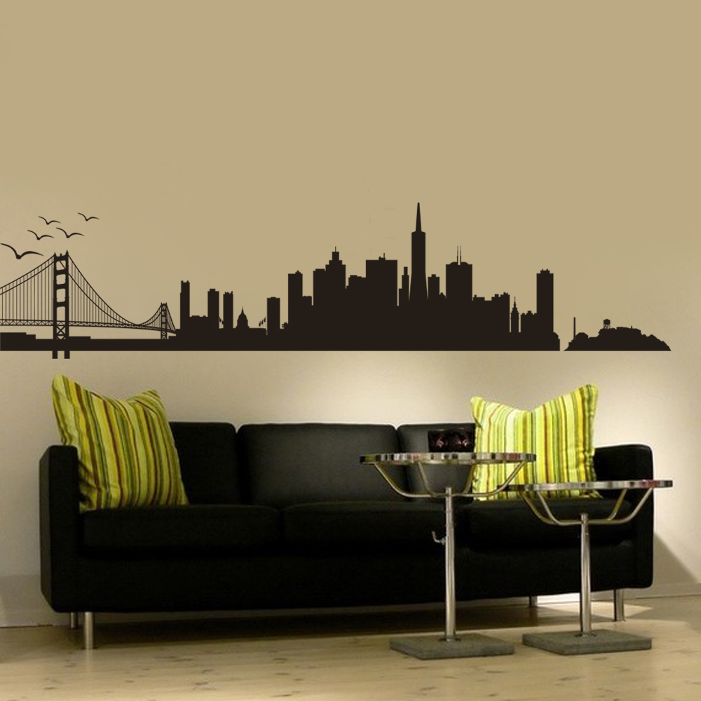 San Francisco City Skyline Silhouette Wall Decal Vinyl Art