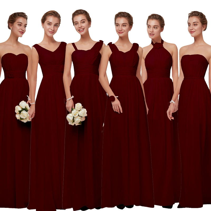 Beauty Emily Burgundy Chiffon Bridesmaid Dresses 2020 Long For Women Plus Size A-Line Sleeveless Wedding Party Prom Dresses