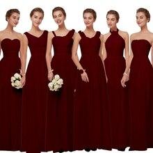 Beauty Emily Burgundy Chiffon Bridesmaid Dresses 2019 Long f