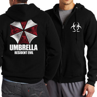 2017 Spring Autumn Zippered Men Hoodies Resident Evil Umbrella Hoody Men Casual Jacekt Harajuku Men S