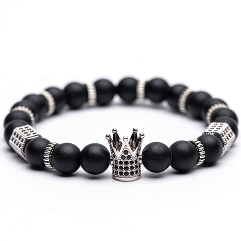 Chain & Link Bracelets 8mm Black Hematite And Volcanic Stone Beaded Men Bracelet For Women Crown Male Hand Chain Bracelets Lovers Fashion Jewelry