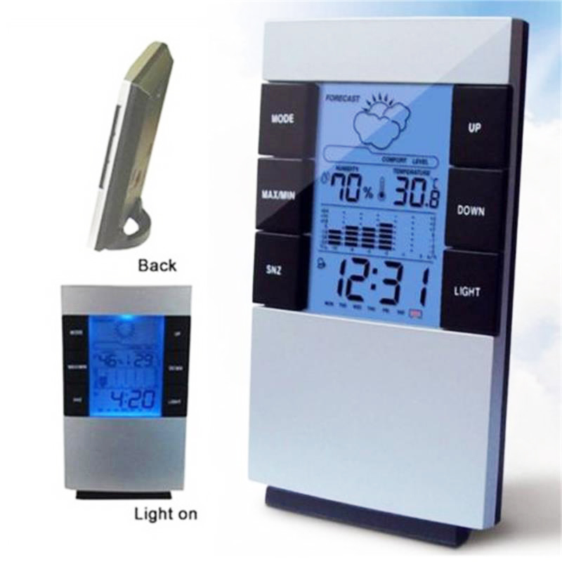 Clock-Alarm Temperature-Humidity-Meter Lcd-Display Digital Household