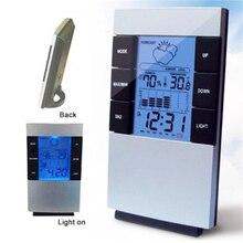 Hogar Digital LCD higrómetro con pantalla termómetro temperatura humedad reloj alarma
